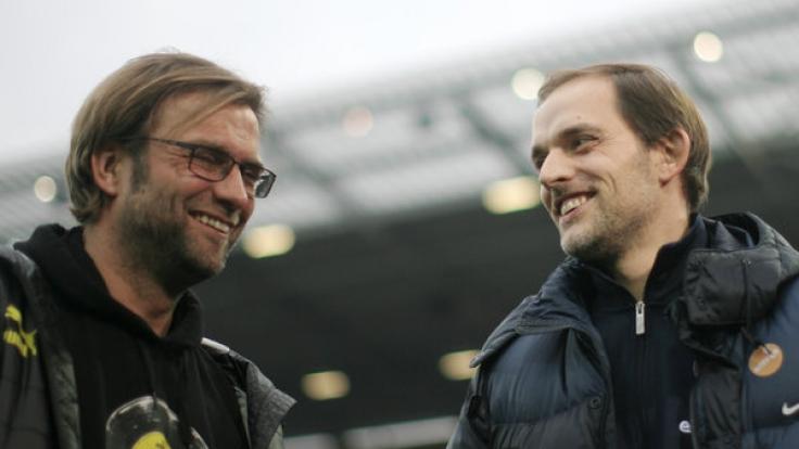 Der eine kommt, der andere geht: Jürgen Klopp (re.) und Thomas Tuchel. (Foto)
