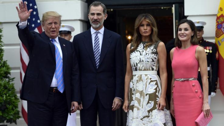 Spaniens König Felipe VI. ist mit seiner Ehefrau Königin Letizia zu einem Besuch bei Melania und Donald Trump im Weißen Haus in Washington eingetroffen.