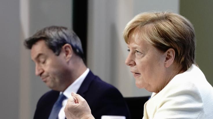 Laut Medienberichten soll es zu Corona-Zoff im Kanzleramt zwischen Bund und Ländern gekommen sein. (Im Bild: Bundeskanzlerin Angela Merkel und Bayerns Ministerpräsident Markus Söder). (Foto)