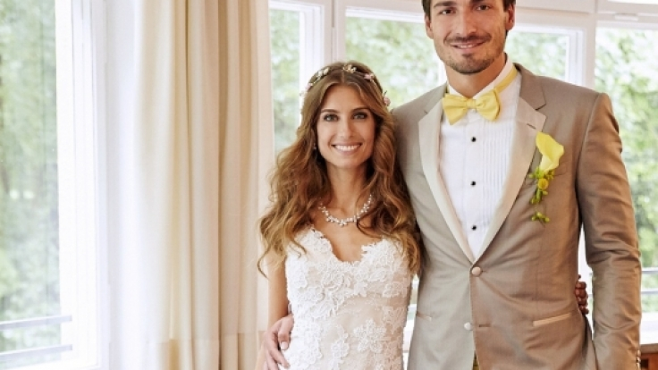 Das Brautpaar Cathy und Mats Hummels am 15.06.2015 bei ihrer Hochzeit in München.