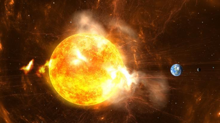 Ein Sonnensturm nähert sich aktuell der Erde. (Foto)
