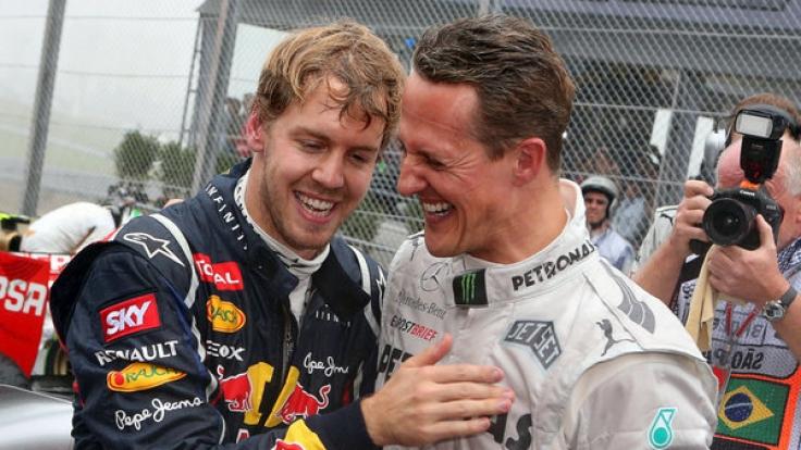 Für Sebastian Vettel (li.) ist Michael Schumacher Vorbild und Inspiration zugleich.