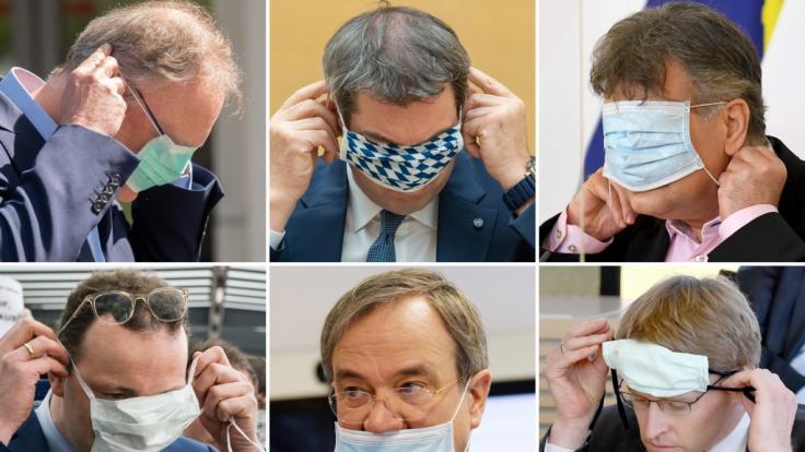 Die Kombo zeigt sechs Politiker beim Tragen oder An- und Abziehen eines Mundschutzes. (Foto)