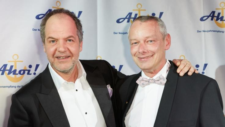 Harry Schulz (rechts) mit Schauspieler Marek Erhardt 2013 bei einem Neujahrsempfang.