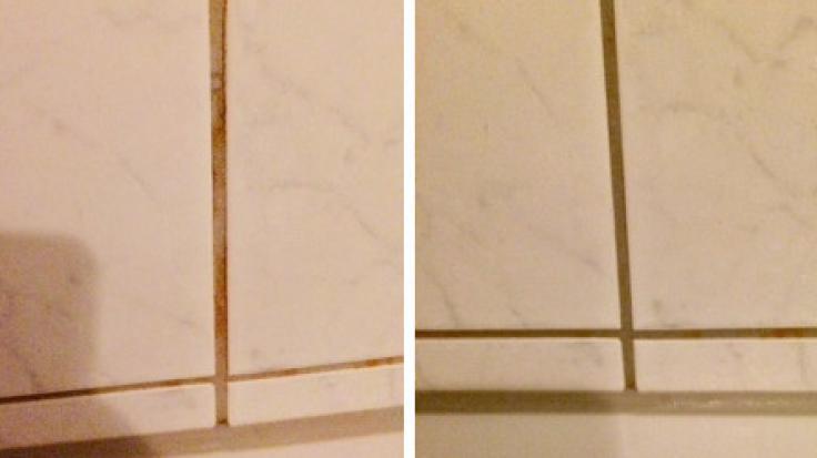 Der Vorher-Nachher-Vergleich: Rechts mit Shampoo-Resten, links nach der Fugenreinigung. (Foto)