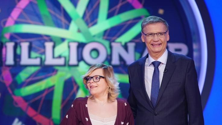 Moderator Günther Jauch mit Melissa Wölfel. (Foto)