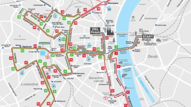 Die Strecke des diesjährigen Köln-Marathon.
