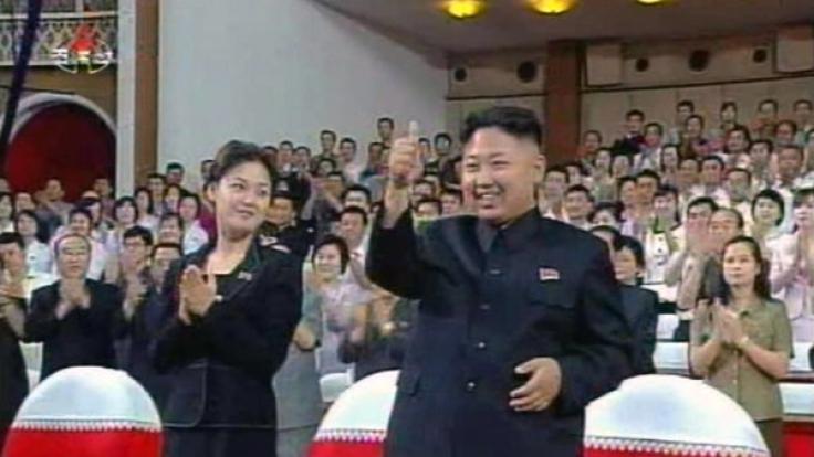 Kim Jong-un und seine Ehefrau Ri Sol-ju. (Foto)