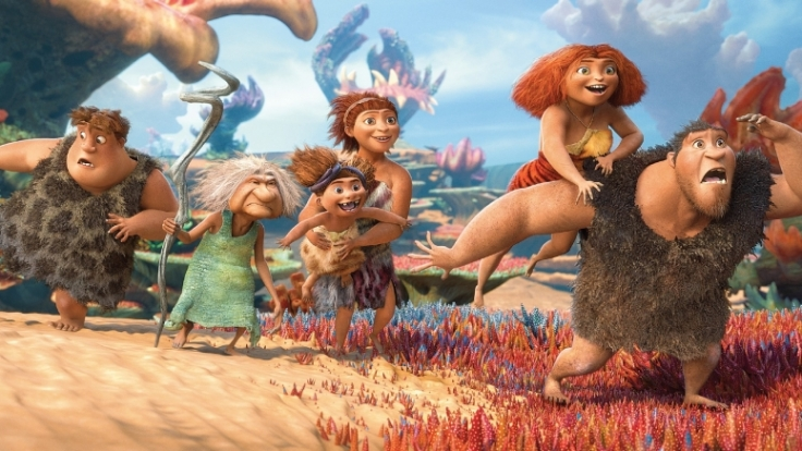 Das sind die Croods: Thunk, Oma, Sandy, Ugga, Eep und Papa Grug.