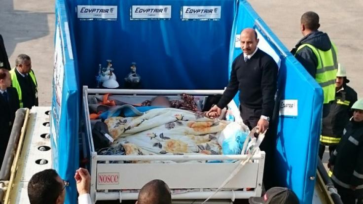 Emed Ahmed wird in Kairo (Ägypten) zu dem Flugzeug transportiert, das sie nach Indien bringen soll. (Foto)