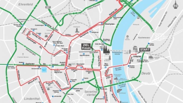 Die Straßensperrungen rund um den Kölner Marathon 2018.