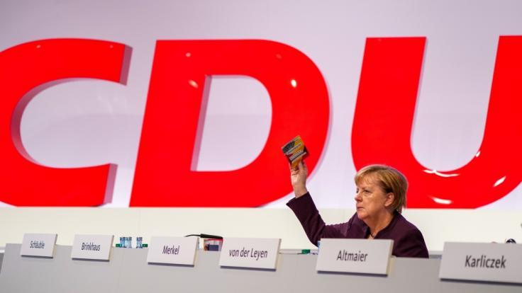 Bundeskanzlerin Angela Merkel (CDU) beim CDU-Bundesparteitag (Foto)