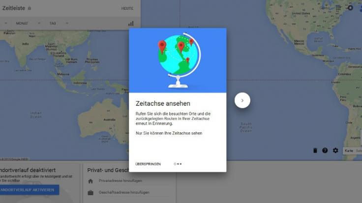 Die Google Zeitleiste erkennt automatisch Orte, an denen man sich aufhält. (Foto)