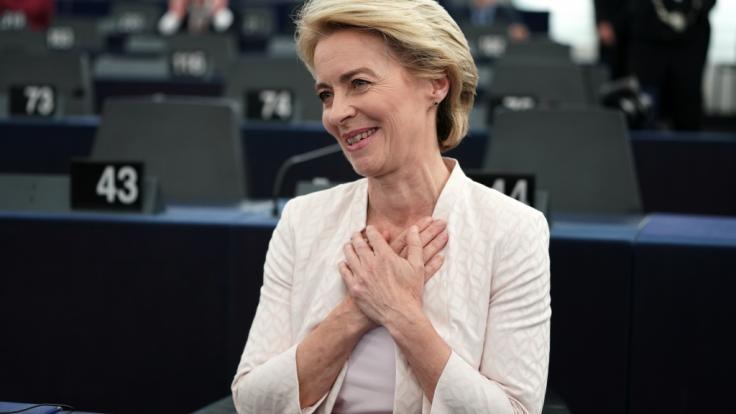 Ursula von der Leyen ist mit knapper Mehrheit zur neuen EU-Kommissionspräsidentin gewählt worden. (Foto)