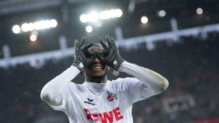 Kölns Torschütze Anthony Modeste jubelt nach seinem Treffer zum 1:0 gegen den VfL Wolfsburg am 19. Spieltag am 4. Februar. (Foto)