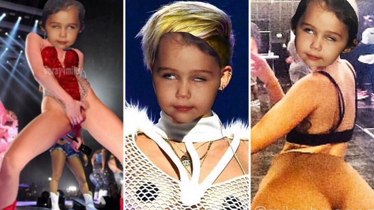 Kinderkopf und sexy Pose - das passt nicht zusammen. Miley Cyrus scheint das anders zu sehen.