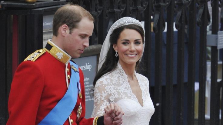Kate Middleton und Prinz William bei ihrer Hochzeit am 29.04.2011.