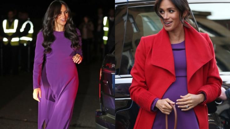Royales Kleider-Recycling: Ihr lila Umstandkleid von Aritzia trug Meghan Markle erstmals im Januar 2019 (rechts). Ende Oktober 2019 durfte das Outfit erneut aus dem Schrank (links).