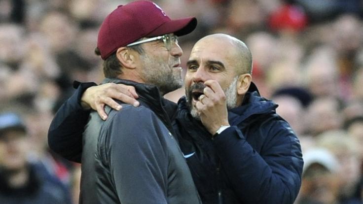 Wenn der FC Liverpool und Manchester City in der englischen Premier League aufeinandertreffen, geht es auch abseits des Spielfeldes zwischen den Trainers Jürgen Klopp und Pep Guardiola zur Sache. (Foto)