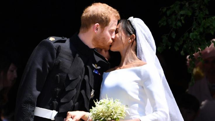 Meghan Markle und Prinz Harry bei ihrer Hochzeit am 19. Mai 2018. (Foto)
