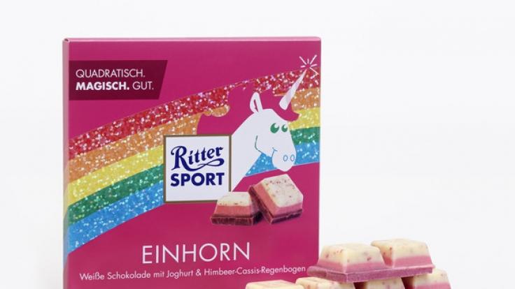 Mit der Limited Edition der Einhorn-Schokolade ist dem Schokoladenhersteller Ritter Sport ein durchschlagender Erfolg geglückt - jetzt wird die Sonderedition nachproduziert. (Foto)