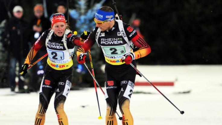 Erik Lesser und Franziska Hildebrand kämpfen als Team um den Sieg.