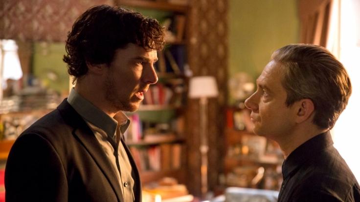 Sherlock (Benedict Cumberbatch) hofft vergeblich, dass Watson (Martin Freeman) ihm nicht die Schuld an dem Tod von Mary gibt. (Foto)