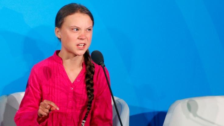 Klimaaktivistin Greta Thunberg während ihrer Rede beim UN-Klimagipfel bei den Vereinten Nationen.