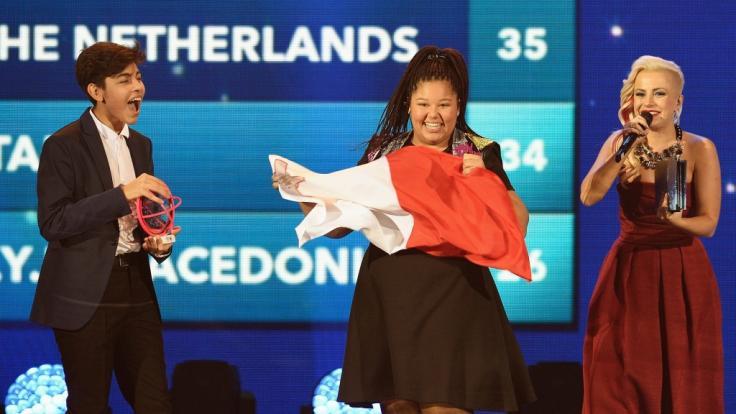 Destiny Chukunyere beim Gewinn des Junior Eurovision Songcontests 2015 für Malta. (Foto)