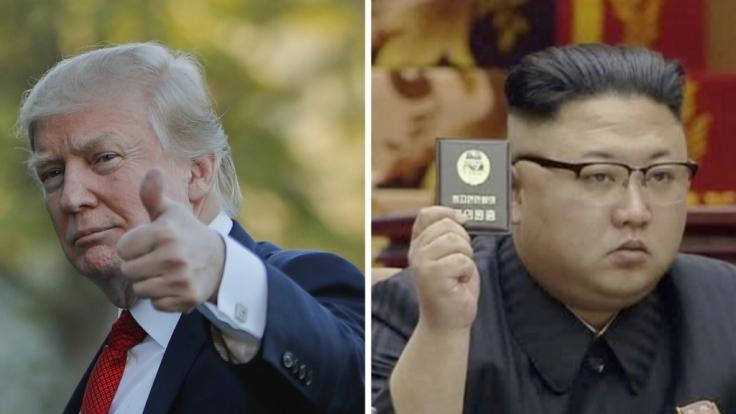Donald Trump (links) droht Nordkoreas Diktator Kim Jong Un bei Twitter.