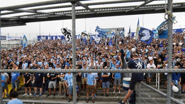 Mit Jubel und Gesängen stehen die Fans hinter dem TSV 1860 München. (Symbolbild)