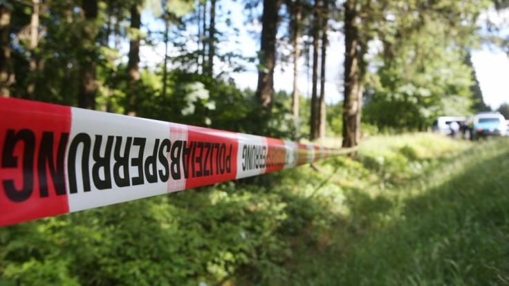 Polizeiabsperrung nach einer Straftat in einem Waldstück (Symbolbild)