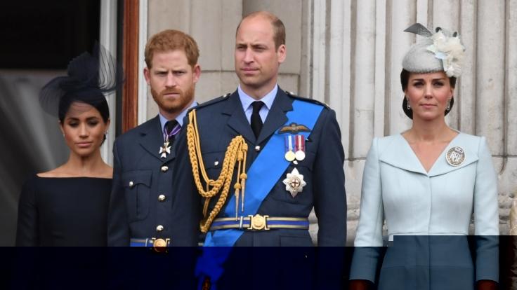 Die Stimmung zwischen Herzogin Meghan, Prinz Harry, Prinz William und Herzogin Kate schien auch schon mal besser. (Foto)
