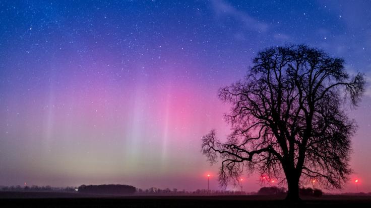 Polarlichter sorgen für ein Farbspektakel am Nachthimmel.