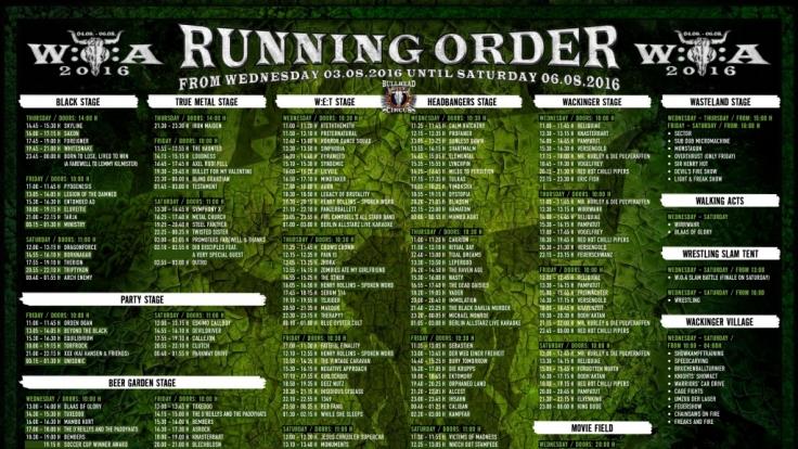 Die komplette Running Order des W:O:A 2016. (Foto)