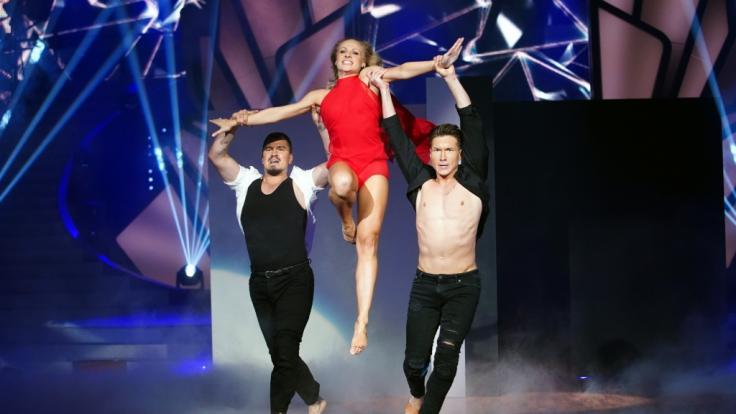 """Marta Arndt, Evgeny Vinokurov  Evgenij Voznyuk (l.) treten gemeinsam bei der """"Let's Dance-Profi-Challenge"""" an. (Foto)"""