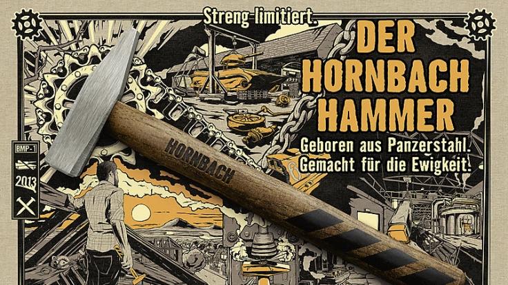 Das ist die Hornbach-Werbung für einen Hammer aus Panzerstahl. (Foto)