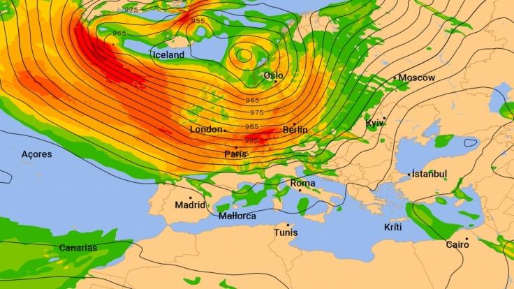 Ein Sturmfeld erstreckt sich über den Nordatlantik. Rot steht für Sturmböen über 100 km/h. (Foto)