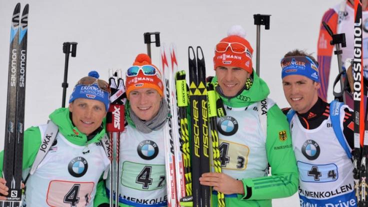 Die Biathlon-Herren möchten in der Staffel endlich auch aufs Podium laufen.