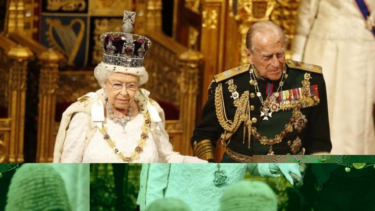 Klotzen statt kleckern: Queen Elizabeth II. erscheint bei der Parlamentseröffnung in festlicher Robe und mit der Imperial State Crown auf dem Kopf. (Foto)