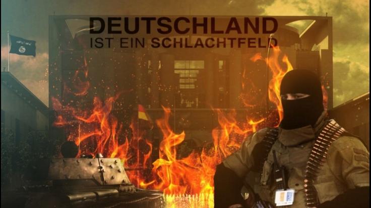 IS-Propaganda: Auch das Kanzleramt steht in Flammen. (Foto)
