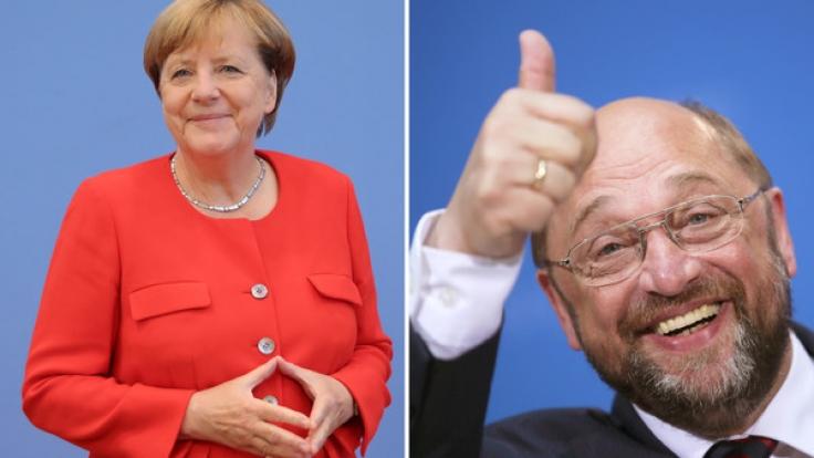 Bundeskanzlerin Angela Merkel und SPD-Herausforderer Martin Schulz. (Foto)