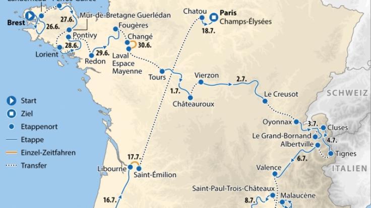 Die Strecke der Tour de France 2021 (Foto)