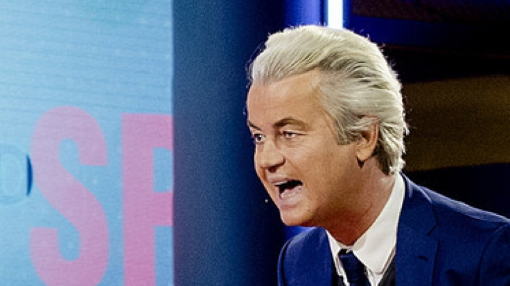 Der niederländische Rechtspopulist Geert Wilders spricht am 14.03.2017 in Den Haag (Niederlande) während des letzten TV-Duells vor den Parlamentswahlen. In den Niederlanden wird am 15. März ein neues Parlament gewählt.