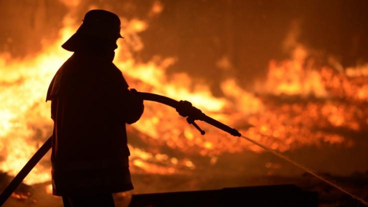 Feuerwehrmann beim Löschen eines Brands: Beim Silvesterfeuer in Scheveningen (Niederlande) entstand ein gefährlicher Feuertornado. (Symbolbild)
