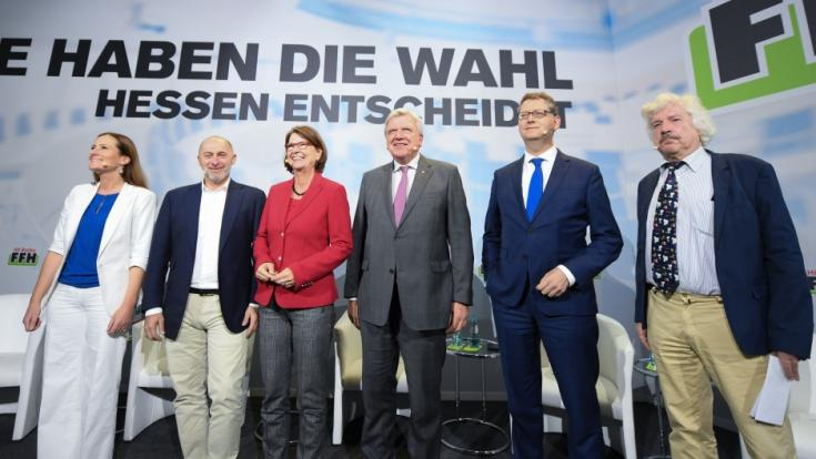 Die Spitzenkandidaten zur Landtagswahl in Hessen 2018: Janine Winkler (Linke), René Rock (FDP), Priska Hinz (Grüne), Volker Bouffier (CDU), Thorsten Schäfer-Gümbel (SPD) und Rainer Rahn (AfD).