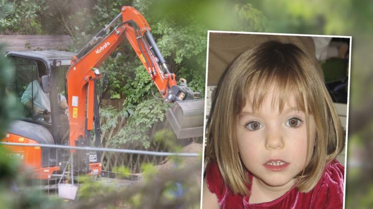 In Hannover durchsucht die Polizei im Vermisstenfall Maddie McCann eine Kleingarten-Parzelle mithilfe eines Mini-Baggers nach möglichen Spuren. (Foto)