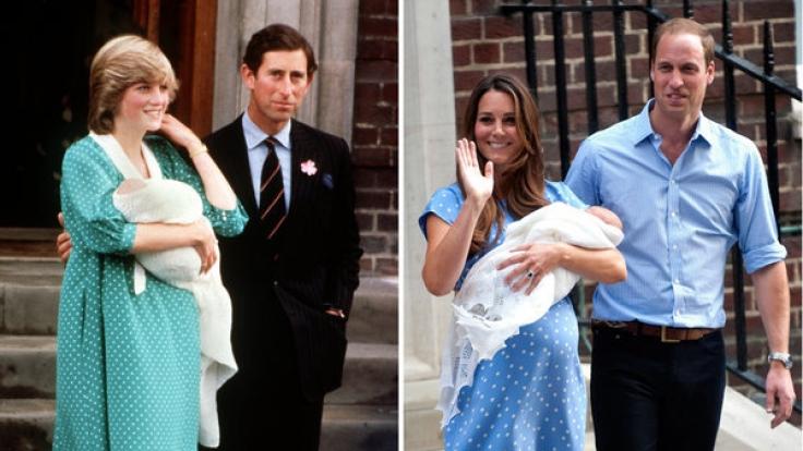 Prinzessin Diana, die am 22.6.1982, dem Tag nach der Geburt, mit Prinz William auf dem Arm und Ehemann Prinz Charles(l) und Herzogin Kate am 23.07.2013 vor dem mit ihrem Sohn neben Prinz William. (Foto)