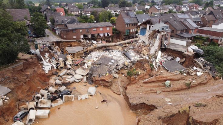 Drohnenaufnahmen zeigen das Ausmaß der Zerstörung nach dem Unwetter. (Foto)