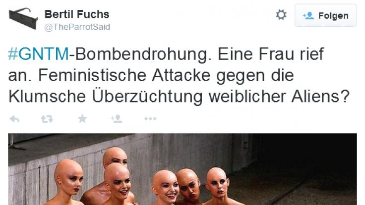 Bei Twitter macht man sich so seine Gedanken zum Bombenalarm beim GNTM-Finale 2015.